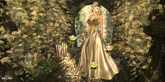 #98 - Waiting for My Love (Yvain Vayandar) Tags: gimmegachaproductions thegachagarden secondlife sl gacha play rare commons game fantasy medieval fairy roleplay lover flowers dress gold pink fabia euphoric akeruka noblecreations thehalfmoonmarket elvion landscape