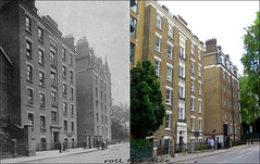 Wellington Buildings`1907-2019 (roll the dice) Tags: london westminster sw1 victoria pimlico old victorian edwardian retro vanished demolished flats local history changes collection people fashion traffic gardens streetfurniture architecture canon tourism tourists oldandnew pastandpresent hereandnow urban england barracks uk classic surreal comparison nostalgia windows trees entrance chimney lights poor bygone
