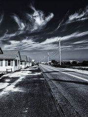 Route 6a--Morning Light (PAJ880) Tags: route 6a north truro ma dsays cottages poles highway bw mono cape cod resort