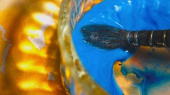 Blue and Orange Complementary Colours HMM (7 Blue Nights) Tags: complementarycolours macro macromondays blue orange light colour color colours art water