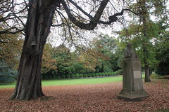 Charles Baudelaire and a carpet of leaves in the Luxembourg Gardens (janeymoffat) Tags: statues statue writers poets baudelaire charlesbaudelaire trees branches leaves fallcolors fall fallfoliage park garden luxembourggardens jardinduluxembourg paris france