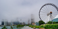 Centennial Wheel, foggy Chicago (NettyA) Tags: centennialwheel chicago illinois navypier northamerica usa architecture buildings city cityscape ferriswheel foggy panorama