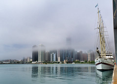 Tall ship, Windy, and fog lifting, Chicago (NettyA) Tags: chicago illinois lakemichigan navypier northamerica usa architecture boat buildings city cityscape fog moored ship tallship windy