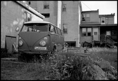 Yooper Bus (Voxphoto) Tags: bw blackandwhite fujicagw690 marquette michigan microbus up yooper volkswagen ironoreheritagetrail bikepath