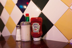 Classic Diner (Someone's Name) Tags: heinz ketchup salt sugar tobasco tiles diner wood table condiment lights latenight food breakfast lunch dinner