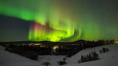 Aurora Borealis in Swedish Lappland (bholmbom81) Tags: trees winter snow nature stars lights sweden hill auroraborealis jukkasjärvi laxforsen bjornholmbom björnholmbom lappland