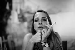 9.25pm (Lothbrok'sYen) Tags: lothbroksyen woman bw monochrome blackwhite people face cigarette 50mm lumixspro5014 lowlight casablanca 5014 beautiful beauty diva portrait