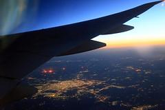 Dawn from 36,000 ft (Robyn Hooz) Tags: iraq city dawn alba horizon orizzonte ala wing civilization urban uomo atmosphere