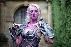 Portrait from Fantasy Forest at Sudeley Castle, July 2019 (Gordon.A) Tags: sudeley castle winchcombe gloucestershire england uk fantasy forest july 2019 festival event creative costume design style lifestyle culture subculture night elf world warcraft cosplay cosplayer pretty lady woman people face model pose posed posing outdoor outdoors outside tree trees naturallight colour colours color colors amateur portrait portraiture photography digital canon eos 750d sigma sigma50100mmf18dc