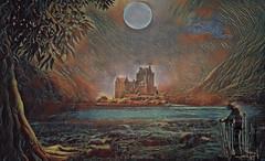 Return to Transylvania (Rollingstone1) Tags: transylvania castle vampire moon mountains sky hills birds water lake tree figure waves rocks colour vivid art artwork