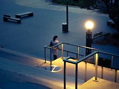 Human on some steps (thenorthernmonkey77) Tags: human person woman steps handrail zigzag light dusk humansingeometry wellington nz newzealand beehive parliament olympus omd em5 1442mm kitlens