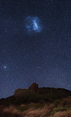 Large Magellanic Cloud at Sugarloaf Rock - Dunsborough, Western Australia (inefekt69) Tags: large magellanic cloud panorama stitched mosaic cosmology southern hemisphere cosmos western australia dslr long exposure rural night photography nikon stars astronomy space galaxy astrophotography outdoor ancient sky 50mm d5500 landscape tracked ioptron skytracker star tracking sugarloaf rock dunsborough
