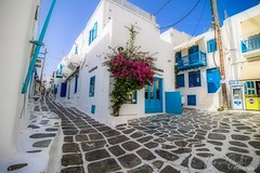 Streets of Mykonos (corineouellet) Tags: hdr amazing beauty canonphoto white blue colors cityscape city travel grèce greece mykonos street streets path