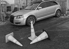 Car with minor Body Damage and Traffic Cones (DayBreak.Images) Tags: urban city atlanta georgia l5p car traffic cones parkinglot canondslr canoneflens lightroom bw