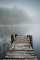 Misty Dawn - Loch Ard (silverlarynx) Tags: scotland trossachs loch ard jetty boathouse dawn mist
