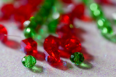 Glass Beads (JMS2) Tags: complementarycolors macromondays red green glass beads closeup macro bokeh
