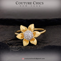 Natural Diamond Flower Ring (couturechics.facebook1) Tags: natural diamond flower ring solid 14k yellow gold fashion wedding engagement handmade jewelry
