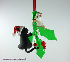 Little Santa Cat and Santa Mouse on Glass Holly (Quernus Crafts) Tags: polymerclay quernuscrafts cute glassholly phoenixglass christmas decoration santahat fattycat blackcat mouse