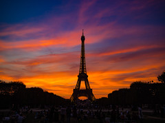 Eiffel Tower Sunset (Anthony Kernich Photo) Tags: paris parisian france french europe european eiffel tower champdemars park landmark historic icon symbol sunset sun dusk twilight evening night sky spectacular colour color outside summer travel tourism olympusem10 olympus olympusomd microfourthirds silhouette dark architecture city urban cityscape flickr flickrheroes landscape
