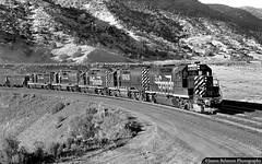 Five Geeps on Soldier Creek Fill (jamesbelmont) Tags: riogrande drgw gilluly utah spanishforkcanyon soldiercreek emd gp402 gp40 gp35 gp30 highway6