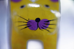 MM: Complementary Colours (margycrane) Tags: macromondays complementarycolours cat woodencat macro sonyilce7m3 yellowviolet