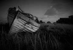 (Julie Rutherford1 ( off/on )) Tags: fishingboat walberswick suffolk julierutherford black white shed ropes nautical