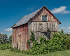 Old Red Barn (AChucksEyeView) Tags: barn red nature old rustic wood green sky clouds