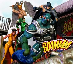 Doomsday vs Justice League (Darth Primus 333) Tags: batman justiceleague doomsday containmentsuitdoomsday dccomics greenlantern vixen hawkman martianmanhunter toyphotography darthprimus deathofsuperman superman