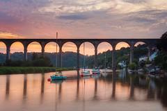 Calstock Viaduct (Timothy Gilbert) Tags: rivertamar panasonic20mmf17ii lumix sunset calstock m43 microfourthirds panasonic microfournerds boat gx8 cornwall tamar calstockviaduct