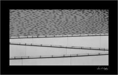On the Right Line? (Simon Caplan) Tags: reading readingengland readinguk berkshire detail urbandetail urbanfragment urbanabstract architecture architecturaldetail extraordinaryordinary mundanedetails blackandwhite bw mono monochrome monotone lines angles
