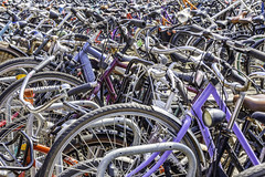Bikes In Amsterdam 1 (Mabry Campbell) Tags: amsterdam europe thenetherlands bicycle bicycles bike bikes chaos crowded image parking photo photograph tires wheels f14 mabrycampbell july 2019 july302019 20190730campbellh6a1393 100mm ¹⁄₈₀sec 400 ef100mmf28lmacroisusm