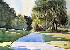 Around West Highland Creek, Plein Air, 2019-08-05 (light and shadow by pen) Tags: watercolor landscape creak toronto art