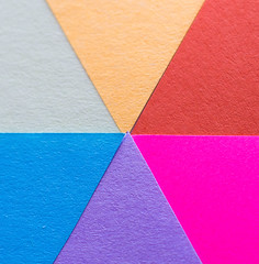 Complementary colours - pastel version (f8shutterbug) Tags: idb macro complementarycolours pastel redgreen yellowpurple blueorange paper texture triangles angles shapes