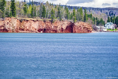 Red Cliff = Red Beach (WOODSHED Revisited) Tags: ionasbeach scientific natural area sna minnesota minn mn two harbors lake superior coast shore twin points resort lakeshore waves rhyolite felsite singing hotel cabin rocks boulders ancient lava flow precambrian historic iona lind john donate donation pink peach