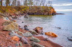 Rocky Shore (WOODSHED Revisited) Tags: ionasbeach scientific natural area sna minnesota minn mn two harbors lake superior coast shore twin points resort lakeshore waves rhyolite felsite singing hotel cabin rocks boulders ancient lava flow precambrian historic iona lind john donate donation pink peach