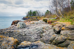 Point to Point (WOODSHED Revisited) Tags: ionasbeach scientific natural area sna minnesota minn mn two harbors lake superior coast shore twin points resort lakeshore waves rhyolite felsite singing hotel cabin rocks boulders ancient lava flow precambrian historic iona lind john donate donation pink peach