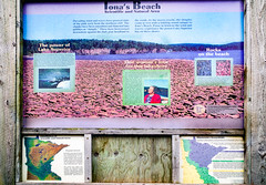 Iona's Story (WOODSHED Revisited) Tags: ionasbeach scientific natural area sna minnesota minn mn two harbors lake superior coast shore twin points resort lakeshore waves rhyolite felsite singing hotel cabin rocks boulders ancient lava flow precambrian historic iona lind john donate donation pink peach pentax k30 justpentax