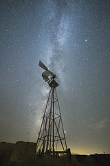 Star Power (magnetic_red) Tags: windmill rural night sky stars milkyway americanwest mojavenationalpreserve