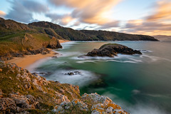 Sunset at Murder Hole Beach - Donegal (Ireland) (Lightblue Sky) Tags: longexposure landscape nature ireland donagal murderholebeach beach cliff sunset