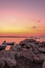 Rocks and boats (MalinaIoP) Tags: canon eos 600d rocks boats sky greece sunset sea beach