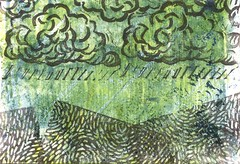 rain on the mountains (CaZaTo Ma) Tags: swapbot mailart hmpc gelatinplate gelatinprint handcarvedstamp handcarved
