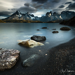 Muted Torres (Jerzy Orzechowski) Tags: patagonia sunrise landscape blue water patterns rocks torresdepaine lake reflections chile clouds