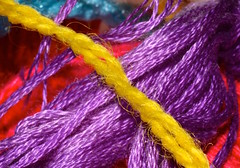 Yellow & Purple (donjuanmon) Tags: donjuanmon nikon macro macromondays hmm complementarycolours yellow purple red blue yarn