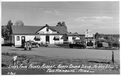 Twin Points Store in the 1940's (WOODSHED Revisited) Tags: ionasbeach scientific natural area sna minnesota minn mn two harbors lake superior coast shore twin points resort lakeshore waves rhyolite felsite singing hotel cabin rocks boulders ancient lava flow precambrian historic iona lind john donate donation pink peach vintage postcard post card
