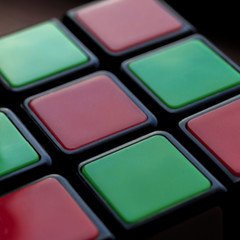 Complementary Colours - Macro Mondays (Crisp-13) Tags: complementary colours complementarycolours macromondays macro mondays rubiks cube green red face
