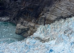Moraine:  Where LeConte Glacier Meets LeConte Bay - II (Ginger H Robinson) Tags: moraine leconteglacier lecontebay glacier glacial bay petersburg southeastalaska alaska aerialview aerial flyover outdoors iceberg iceblue blueice rock striations aretes snow frozen cold wet fjord
