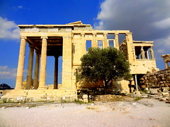 Acropolis.  The Erechtheum (dimaruss34) Tags: newyork brooklyn dmitriyfomenko image sky clouds greece athens acropolis architecture ruins erechtheum tree