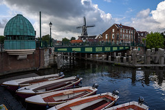 Haarlem (Julysha) Tags: haarlem bridge boats acr town mill summer thenetherlands noordholland river spaarne august 2019 d7200 nikkor1680284 clouds
