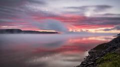 Petit matin sous la brume (gaudreaultnormand) Tags: brume calme canada couleur leverdesoleil longueexposition lumière quebec rouge saguenay sunrise