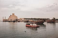 Museum of Islamic art (Ziad Hunesh) Tags: zhunesh canon museum islamic art boats qatar doha photography sea lights arabian gulf outdoor water waterfront sky 650d clouds reflection